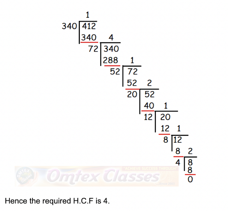 Use Euclid's Division Algorithm to find the Highest Common Factor (HCF) of 340 and 412