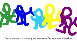 Autismo. Dibujo con mensaje. Todos somos distintos pero tenemos los mismos derechos