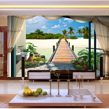 3d wall Murals wallpaper Maldives Seaview Free Shipping Window Landscape wall murals Wallpaper Wall Mural Bedroom Livingroom Balcony