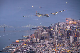 Solar plane flying over San Francisco!