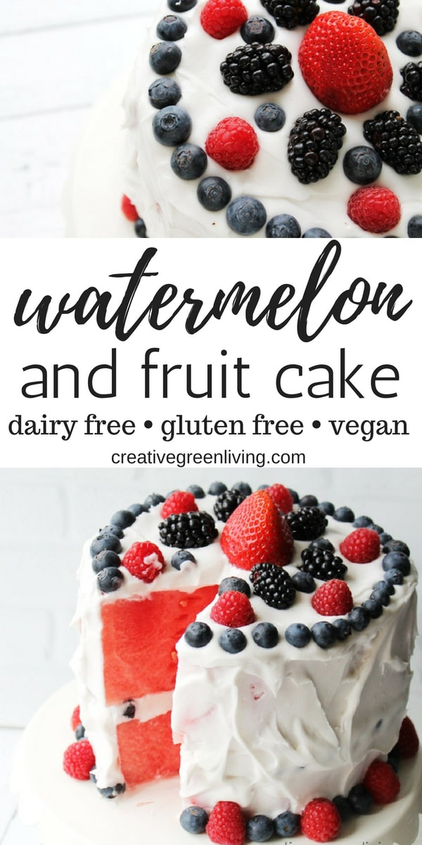 I love this recipe for a no bake watermelon friut cake. It's the perfect healthy dessert for anyone that loves fresh fruit but not traditional cake. It's gluten free, vegan and paleo.