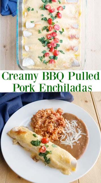 Remake leftover pulled pork into a new and amazing dinner. This BBQ enchiladas are baked in a cheesy sour cream sauce for the perfect finish. If you don't have pulled pork you can always use chicken instead!