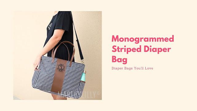 monogram diaper bag with strap