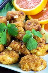 Baked Orange Chicken (or Tofu) Nuggets with Steamed Bok Choy & Orange Slices (GF) (DF) (V)