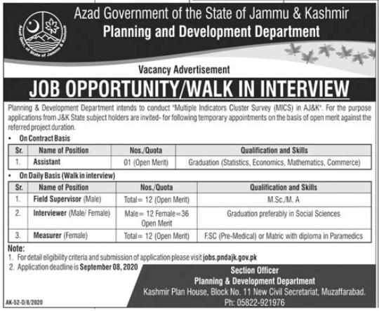 Planning & Development Department Govt Jobs 2020