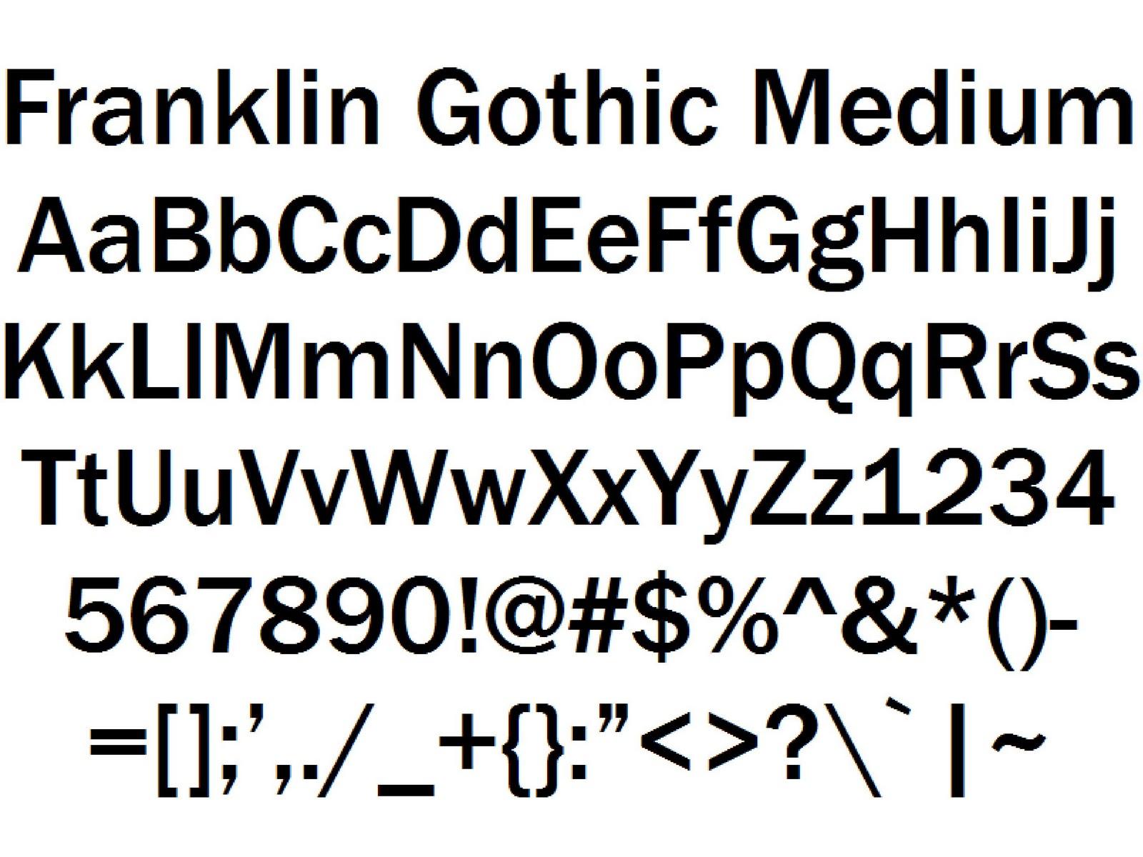 Font Alphabet Styles: Franklin Gothic Medium