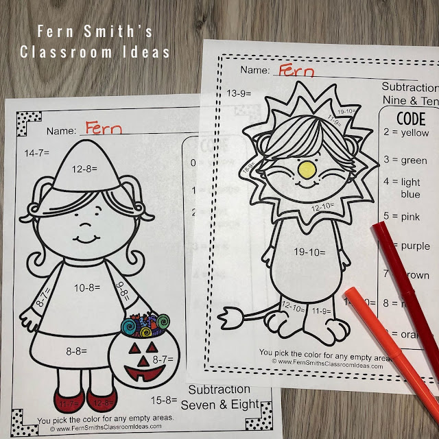 Halloween Color By Number Cute Students in Halloween Costumes for Some October Halloween Fun For Your Addition and Subtraction Math Lessons - For Kindergarten, First Grade and Second Grade - TeacherspayTeachers - #FernSmithsClassroomIdeas