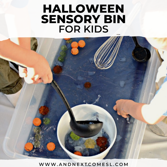 Halloween sensory bin with water