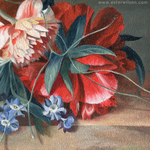 """Detail of """"Wild Arrangement"""" oil painting on wood panel"""