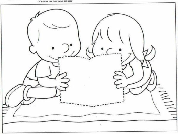 Niño Leyendo La Biblia Para Colorear: EBD Ensinando Com Amor