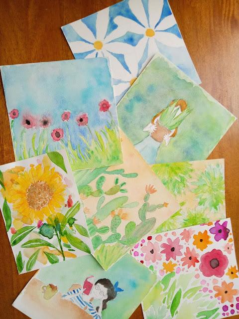 Watercolor paintings of flowers, greenery, cacti, deer, forests, animals