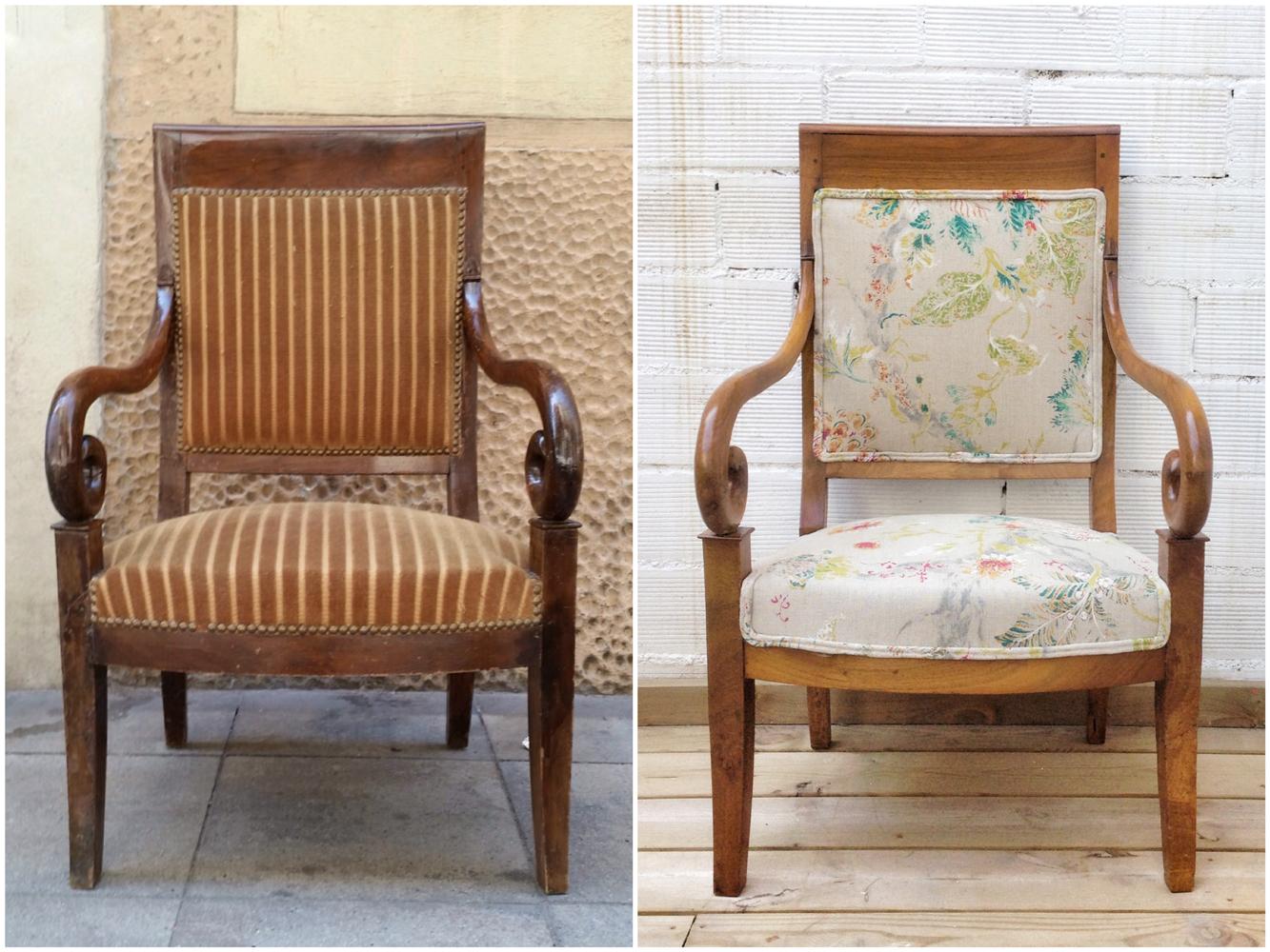 Antes y después - Sillón restaurado y tapizado - Studio Alis