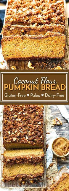 Coconut Flour Pumpkin Bread with Crumb Topping