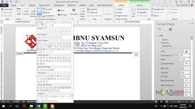 Cara mudah membuat kop surat otomatis di setiap halaman di Microsoft word + vido
