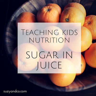 teaching kids nutrition - sugar in juice