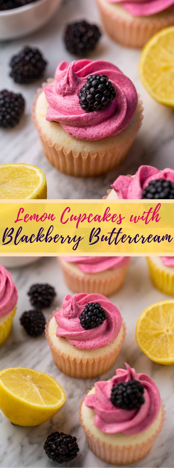 Lemon Cupcakes with Blackberry Buttercream #cake #dessert