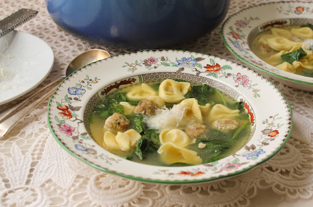 Food Lust People Love: This bowl of warm comfort is called Meatball, Spinach and Tortellini al Brodo and each spoonful is a light yet cozy delight on a chilly night.