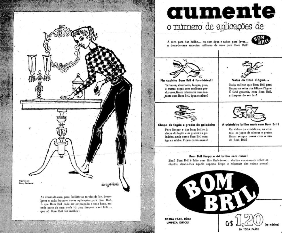 Propaganda antiga do Bombril nos anos 50 apresentando formas práticas de usar o produto dentro do lar
