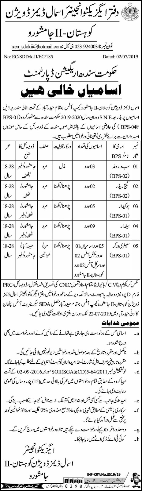 Irrigation Department Jobs in Jamshoro 04 July 2019