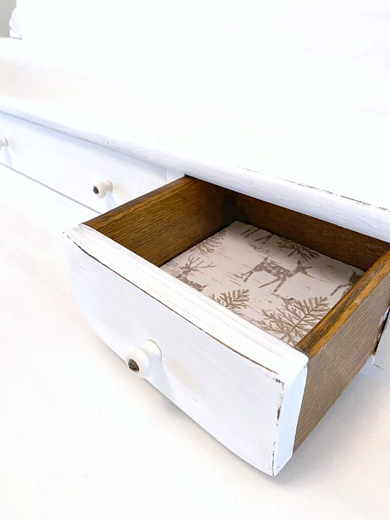 Small drawer opened with liner.