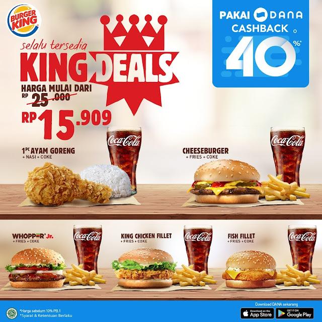 #BurgerKing - #Promo King Deal Desember 2019 Mulai 15K + Cahback 40% Pakai Dana