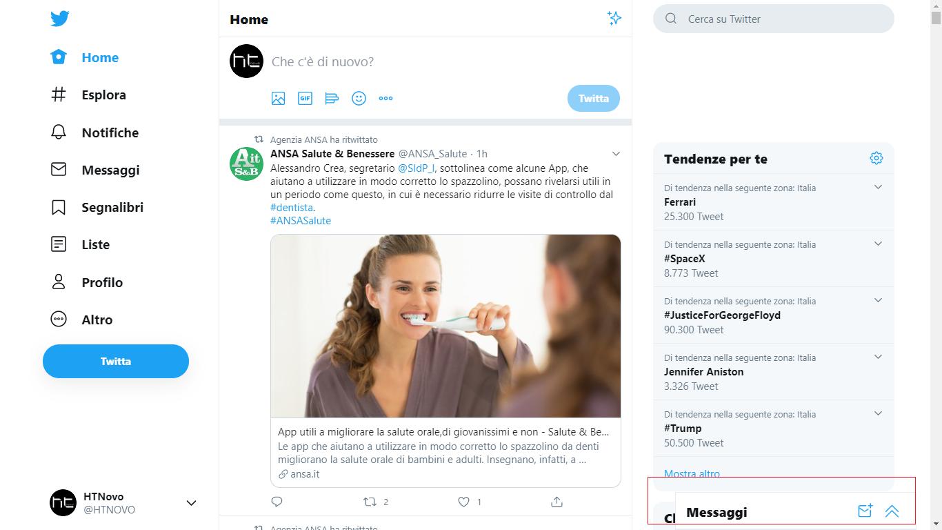 Twitter implementa i messaggi in stile chat