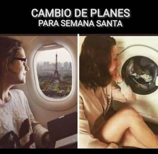 Mujer mirando por ventana de avión vs mujer mirando lavadora