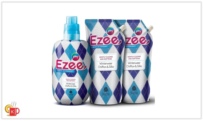 Godrej Ezee laundry detergent, 1 bottle of 1 litre and 2 pouches of 1-1 litre for front-loading washing machine.