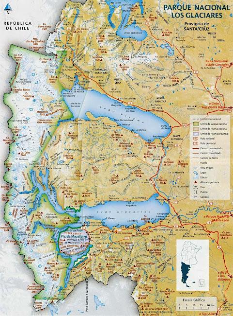 Mapa Parque Nacional Los Glaciares - Argentina