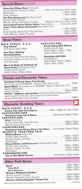 Back Side Magic Kingdom Times Guide October 11-17 2009