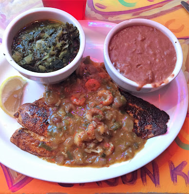 Redfish Etouffee with Collard Greens and Red Beans