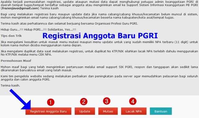 Registrasi Anggota Baru PGRI