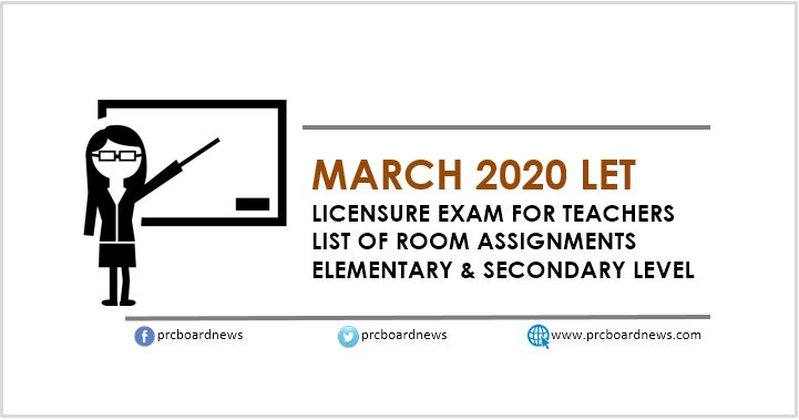 LIST: Room Assignments March 2020 LET Teachers board exam