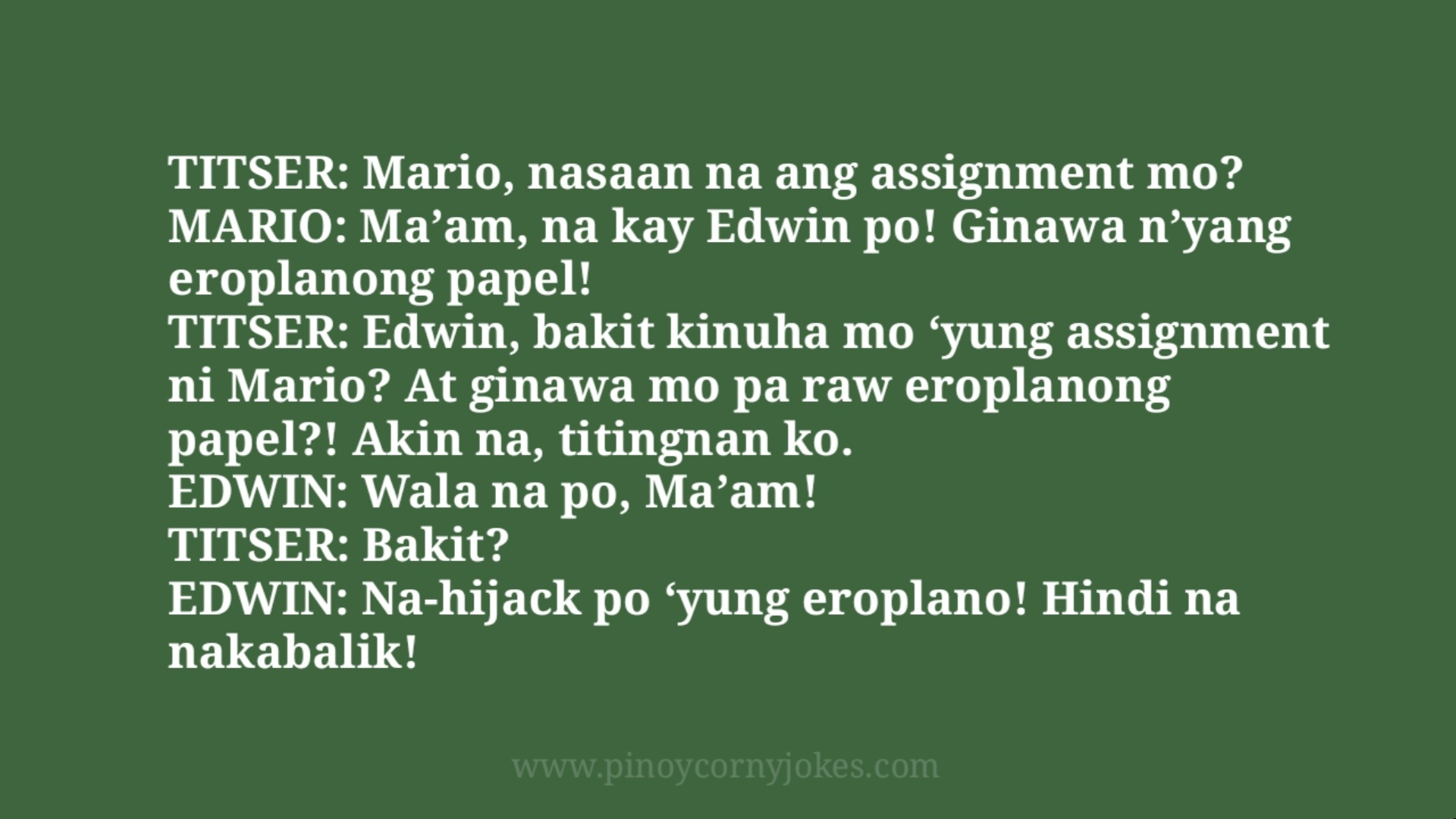 saan ang assignment pinoy jokes estudyante
