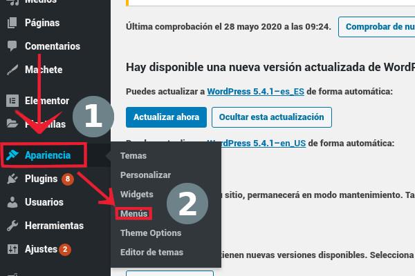 Apariencia >> Menús en WordPress