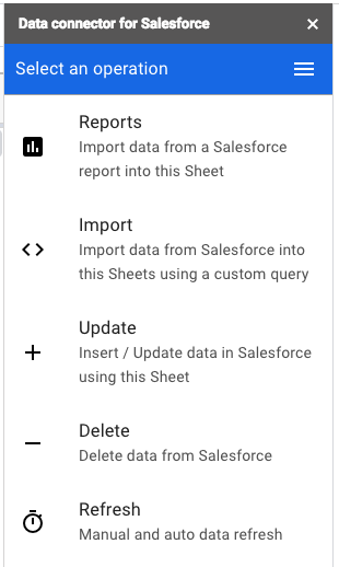 G Suite Updates Blog: Easily refresh Salesforce data in Sheets