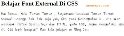 Belajar Font External CSS