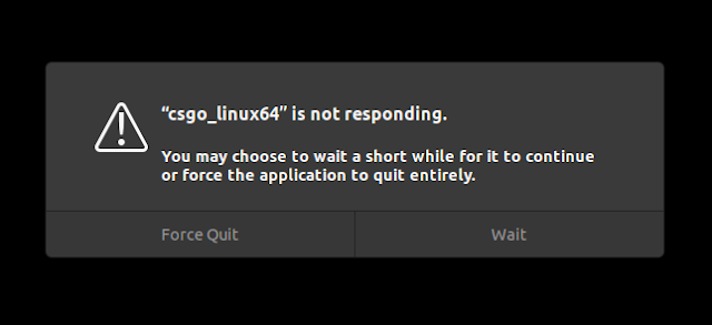 GNOME Shell force quit not responding dialog