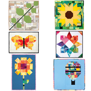 6 different mini quilts based on one quilt block