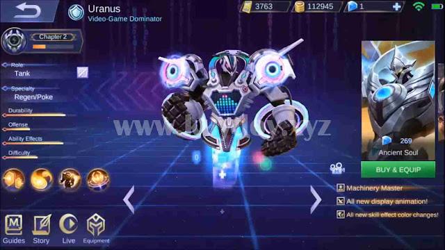 Script Skin Epic Uranus| All Skin Mobile Legends Work Rank 100%