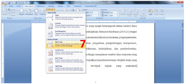 cara membedakan halaman di word