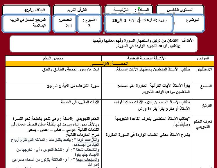 جذاذة التزكية سورة النازعات من الآية 1 إلى 26 الخامس Word