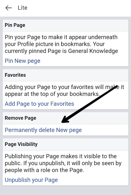 permanently delete your Facebook page, click on Permanently delete Facebook page