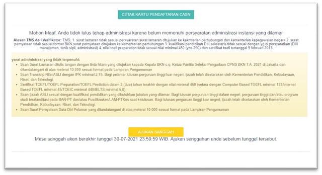 cara mengajukan sanggahan seleksi tahap administrasi cpns tahun 2021 tomatalikuang.com