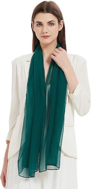 Women's Green Chiffon Scarves