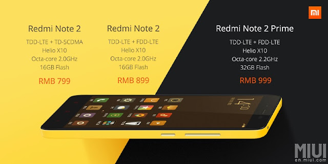 Xiaomi Redmi Note 2 and Redmi Note 2 Prime