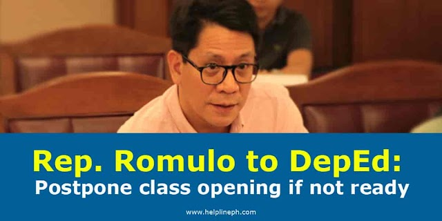 Rep. Romulo to DepEd: Postpone class opening if not ready