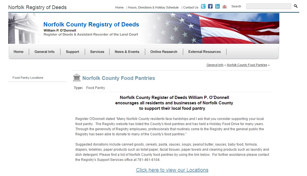 Listing Of Food Pantry S In Norfolk County