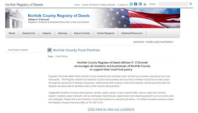 listing of Food Pantry's in Norfolk County