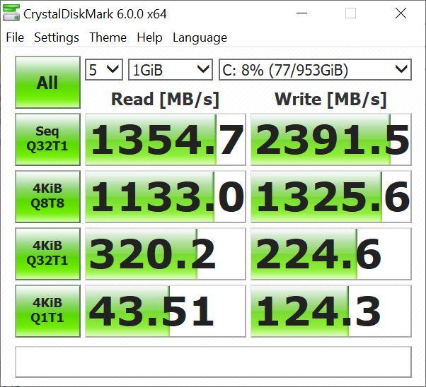 Benchmark CrystalDiskMark Asus ZenBook UM431DA